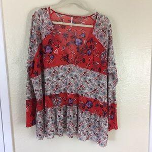 Free People oversized sheer ruffled blouse - M